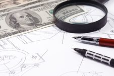 Free Magnifier And Dollars On Drafting Royalty Free Stock Image - 15586586