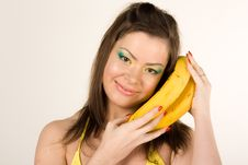 Free Beautiful Girl With Banana Royalty Free Stock Photography - 15586727