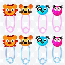 Cartoon Safety Pins Stock Images