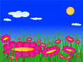 Free Flowers On The Meadow Vector Stock Images - 15593424