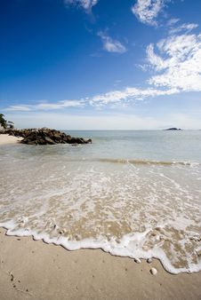 Beach On A Bright Sunny Day Royalty Free Stock Images