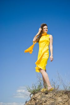 Free Woman In Yellow Stock Photography - 15591192