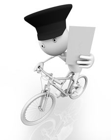 Free A Postman On A Bike With A Letter Royalty Free Stock Photography - 15592857