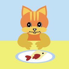 Nice Cat Eating Fish Royalty Free Stock Photos