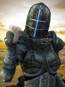 Blue Cross Knight In A Power Pose Close Up Royalty Free Stock Photo