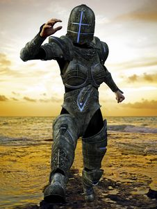 Blue Cross Knight In Jump From The Beach Stock Image