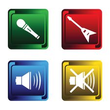 Free Four Musical Buttons Royalty Free Stock Images - 15597189