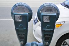 Free Two Car Park Meters Royalty Free Stock Photography - 15597897