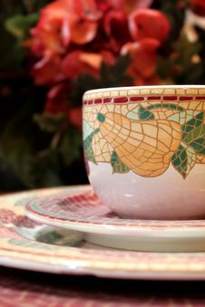 Free Decorative Tea Cup And Plates Stock Photography - 15598422