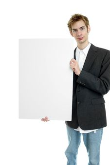 Free Businessman Holding White Sign Royalty Free Stock Photos - 15598498