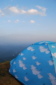 Free Camping On The Top Of Mountain With Blue Tent Stock Photography - 15599162