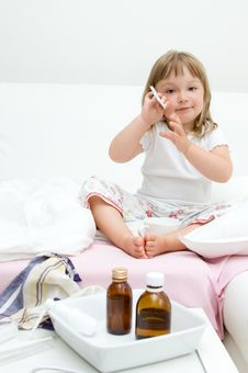 Free Sick Little Girl Stock Photo - 15599430
