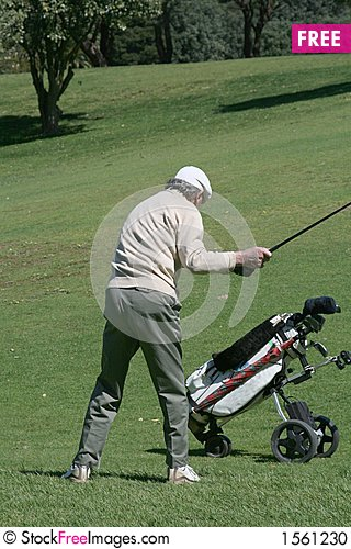 Free Old Golfer And Cart Stock Photo - 1561230
