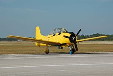 Free Vintage Yellow Airplane On The Ground Royalty Free Stock Photo - 1561655