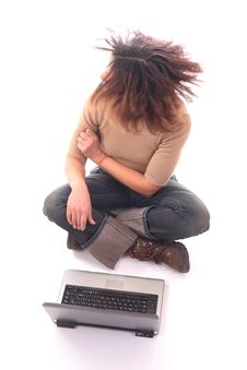 Free Woman With Laptop III Royalty Free Stock Photos - 1562048