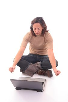 Woman With Laptop IV Stock Photo