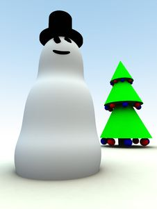 Free Snowman And Christmas Tree 15 Stock Photos - 1562913