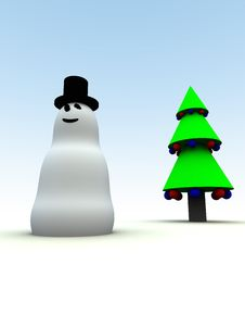 Free Snowman And Christmas Tree 16 Royalty Free Stock Image - 1562916