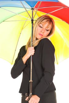 Free Young Girl With Umbrella Stock Image - 1564481