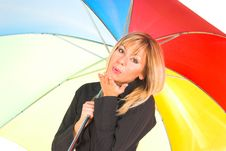 Free Young Girl With Umbrella In Colors Royalty Free Stock Images - 1564619