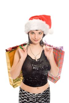 Christmas Shopping Mrs Santa Claus Royalty Free Stock Photos