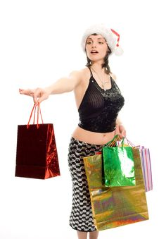 Christmas Shopping Mrs Santa Claus Stock Images