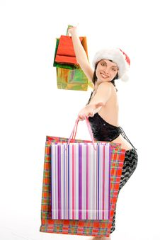 Christmas Shopping Mrs Santa Claus Stock Photos