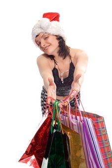 Christmas Shopping Mrs Santa Claus Stock Image