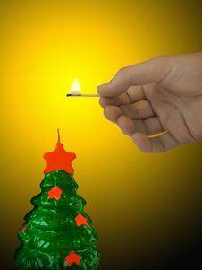 Free Candle (xmas Tree) Royalty Free Stock Photo - 1569115