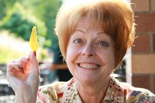 Free Smiling Woman With Chip Stock Photography - 15600052