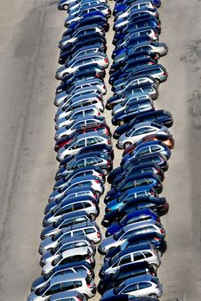 Double Row Of Cars In Parking-lot Stock Image
