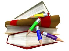 Free Books Stack And Pencils Royalty Free Stock Image - 15600396