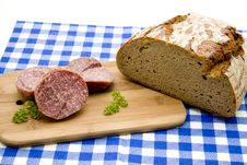 Free Salami And Bread Stock Photo - 15600580