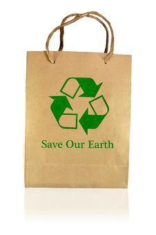 Free Save Earth Paper Bag Stock Photography - 15601222