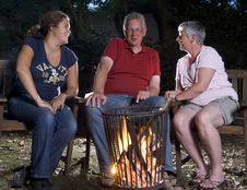 Family At Campfire Stock Photography