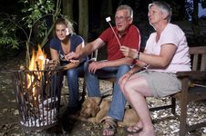 Family At Campfire Royalty Free Stock Photo