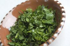 Free Green Herbs In A Bowl Stock Photos - 15601883