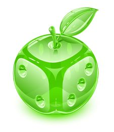 Glass Apple With Leaf As Playing Die Stock Photo