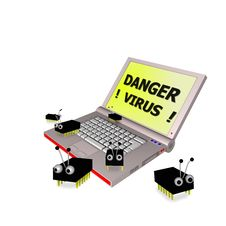 Danger Virus Laptop 3d 2 Stock Images