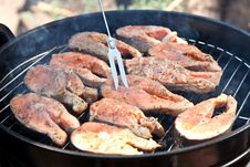 Fish Salmon Cooking On Grill Royalty Free Stock Images