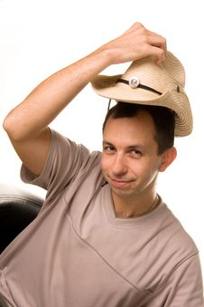 Free The Man Puts On A Straw Hat A Head Stock Image - 15606071