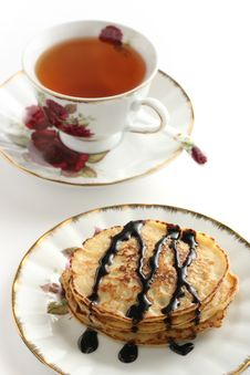 Pancakes With A Cup Of Tea Stock Image