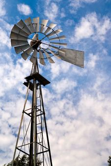 Old, Metal Water-Pumping Windmill Stock Photos