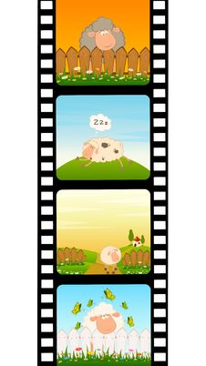 Free Blank Film Colorful Strip With Sheep Stock Photo - 15607280