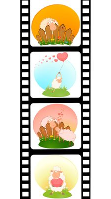 Free Blank Film Colorful Strip With Sheep Royalty Free Stock Photography - 15607347