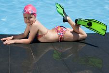 Free Little Child In Bathing Cap, Glasses, Fins Near Sw Royalty Free Stock Photos - 15607618