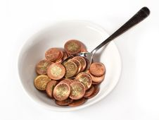 Free Bowl, Spoon And Money Royalty Free Stock Photo - 15607885
