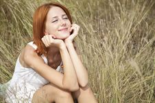Free Beautiful Red-haired Girl At Grass Stock Photography - 15607992