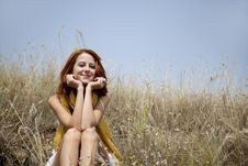 Free Beautiful Red-haired Girl At Grass Stock Photography - 15608162