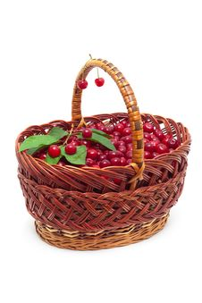 Free Basket With Ripe Cherries Royalty Free Stock Image - 15609486